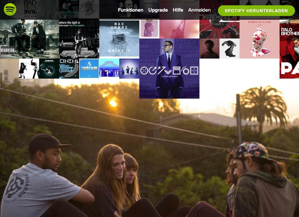 Spotify Parallax Scrolling
