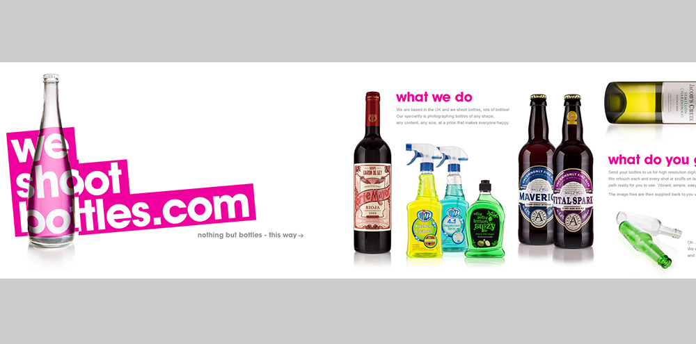 We Shoot Bottles Agentur - OnePager Beispiel